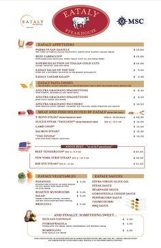 Menu from Eataly Steakhouse on board #MSCDivina (subject to change)