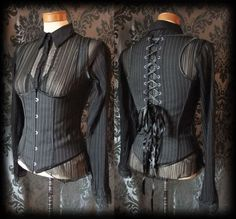 Goth Black Pinstripe Lace Up STRIATION Steel Boned Corset Top 12 14 Victorian BN - £24.99