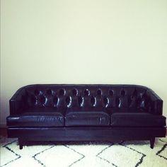 my new @dwellstudio chester black leather sofa.
