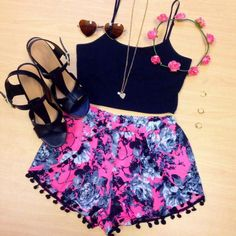 Teenage Fashion Blog: Floral Rom Rom Short & Black Vest Blouse # Summer ...