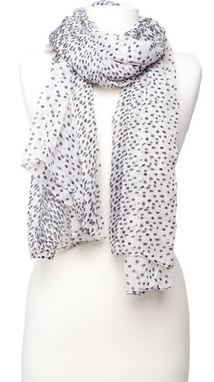 Dot Print Scarf, White by Violet Del Mar