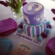 Purple And Aqua Baby Shower // Baby Shower Cake From Tasteoflovebakery.com  //