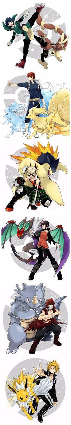 Boku no Hero Academia - pokemon crossover #kick #crouching #reachingout