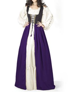 Ladies Long Medieval Wench Wig Maid Marion Juliet Brown Blonde Red Fancy Dress
