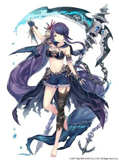 2017 anchor arm up barefoot black legwear black panties blue eyes blue gloves blue shorts bra breasts cleavage eyebrows visible through hair feet fingerless gloves floating hair full body garter straps gloves hair ornament highleg highleg panties hig Fantasy Character Design, Character Concept, Character Inspiration, Character Art, Anime Fantasy, Fantasy Girl, Manga Characters, Fantasy Characters, Anime Scythe