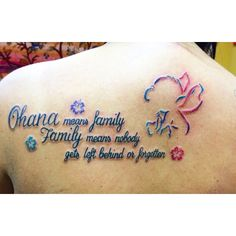 "My new ""Ohana means family. Family means nobody gets left begind or forgotten"" -lilo and stitch tattoo ❤️"