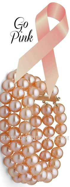 Triple strand Freshwater Orient Collection special edition pearl bracelet for October #go pink