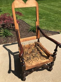 I found this chair at a charity thrift shop. I made a donation and loaded this (very) heavy chair in my vehicle. It is super solid, thanks to some repairs and