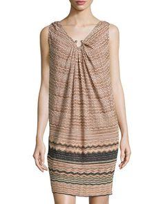 Metallic Zigzag V-Neck Dress, Blush/Multi by M Missoni at Neiman Marcus Last Call.