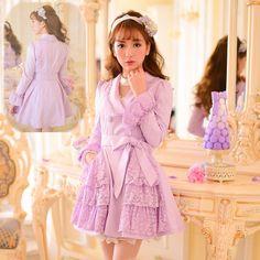S/M/L Purple Lace Princess Coat SP153417