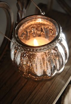 Hanging Mercury Glass Candle Holder 3in