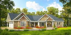 Plan 36043DK: Angled Craftsman Home Plan with Outdoor Spaces