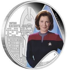 2015 1 oz Star Trek Captain Janeway Proof Silver Coins from JM Bullion™ Scotty Star Trek, New Star Trek, Star Trek Transporter, Film Star Trek, Captain Janeway, Tv Star, Star Trek Captains, Kate Mulgrew, Video Clips