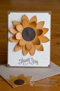 I made this thank you card for my mom to give to her boss. He loves sunflowers and is encouraging a contest at work between employees to gr. Paper Cards, Diy Cards, Creative Cards, Creative Ideas, Beautiful Handmade Cards, Scrapbook Cards, Scrapbooking, Thanksgiving Cards, Card Patterns