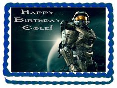 Halo Edible Image quarter sheet cake. Halo cake topper frosting sheet. Halo party supplies decorations.