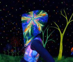 66116f09e19 Festival Hood Blacklight UV Reactive Chain Neon by FractalGlowSF Rave  Festival