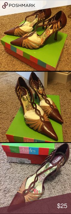 Charles David Clique Brown/Camel Never worn Charles David stilettos. Beautiful shoes! The brown label on the right shoe sole is partly peeled off from the store sticker. Charles David Shoes Heels