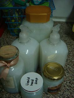 Handmade liquid soap:  1 cup grated soap flakes (5 minutes – don't even use a whole bar of soap) 10 cups of water (2.5 L) 1 Tablespoon glycerine  (you can add essential oils if you want)  That's it.  Combine all in a pot, heat til the soap has dissolved and let it cool completely. It will look like it's not going to set, but forget about it. Leave it overnight and in the morning, LIQUID SOAP!  Use a funnel to pour into bottles and enjoy.