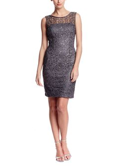 On ideel: ADRIANNA PAPELL Metallic Lace Cocktail Dress