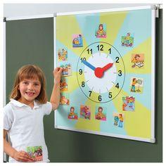 Hodiny - režim dňa - Človek, výživa - Prírodoveda - Učebné pomôcky Learning Centers, Kids Learning, English Classroom, Ubs, Toddler Activities, Kindergarten, Clock, Preschool Education, Note Cards