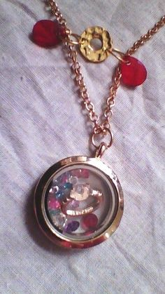 """20""""  Necklace and """"Love"""" Memory Locket - Diamond Ring Charm & Multi colored Gems #Locket"""