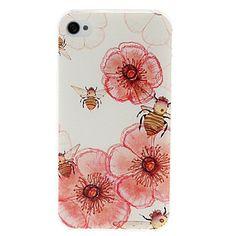 pequenos florais frescas e abelhas padrão de caso de plástico rígido para o iPhone 4/4S – BRL R$ 10,30