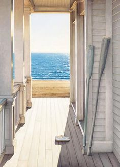Oh to have a house on the beach! A lovely porch surrounding the house and as soon as you step out from it you would feel the sand under your feet. Love it when you decorate with oars for a coastal house as well.