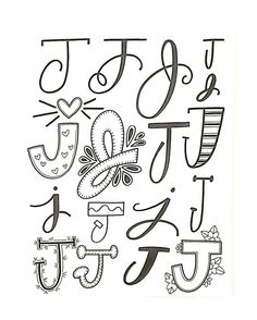 Inspiration with letter j i want to · drawing journal hand lettering. Doodle Fonts, Doodle Lettering, Creative Lettering, Lettering Styles, Brush Lettering, Hand Lettering Alphabet, Calligraphy Letters, Doodle Alphabet, Hand Lettering