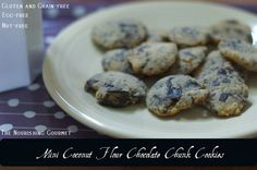 Mini Coconut Flour Chocolate Chunk Cookies (egg-free, gluten and grain-free and nut-free)