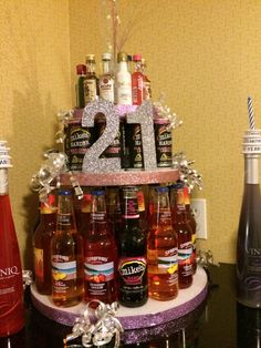 3 styrofoam circles of decreasing size, approx. 20 glass bottle wine coolers, 12 pack of beer or canned wine coolers, asso. Liquor Bottle Cake, Mini Alcohol Bottles, Liquor Cake, 19th Birthday Cakes, 21st Birthday Presents, Birthday Month, Alcohol Cake, Alcohol Gifts, 21st Bday Ideas