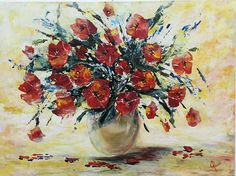 Galina Payne Poppy Vase Acrylic on canvas Poppy, Vase, Canvas, Painting, Tela, Painting Art, Poppies, Flower Vases, Paintings