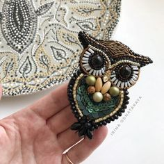 Beaded brooch owl Bird lover Owl lover gift Beadwork jewelry Fashion unique jewellery Gift for her C