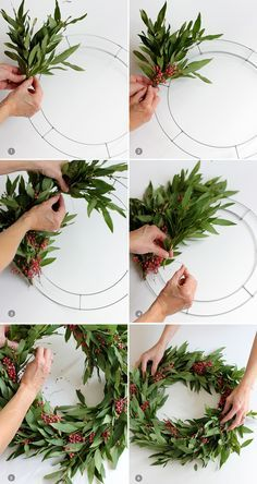 Learn how to make this super simple holiday wreath!  Bay leaf branches and berries