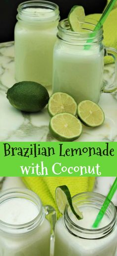 Brazilian lemonade with coconut is our new favorite drink! Thirst quenching for those hot summer days. You will love the added taste of coconut. Lime Drinks, Refreshing Drinks, Summer Drinks, Cocktail Drinks, Fun Drinks, Healthy Drinks, Beverages, Cocktails, Coconut Drinks
