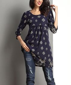 Navy Medallion Empire-Waist Tunic by Reborn Collection #zulily #zulilyfinds