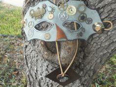 Steampunk Art Mask and Medallion Set  by RoseManorGiftsandArt