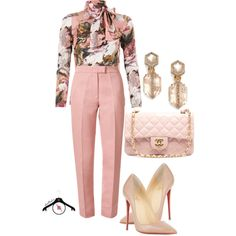 Pink by spivey-adrian on Polyvore featuring Dolce&Gabbana, Orla Kiely, Christian Louboutin, Chanel and Alexis Bittar