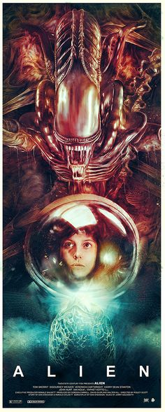 The most iconic alien movie to ever be created has always been a favorite of mine. Alien was, in its time, a thriller. I absolutely love the thriller aspect and design of the alien that we all know and love today. Horror Movie Posters, Cinema Posters, Movie Poster Art, Horror Movies, Fan Poster, Life Poster, Film Science Fiction, Fiction Movies, Sci Fi Movies