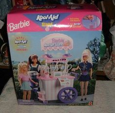 NIB-XTREMELY RARE BARBIE KOOL AID STAND PLAYSET-REAL WORKING DISPENSER PLUS-LQQK