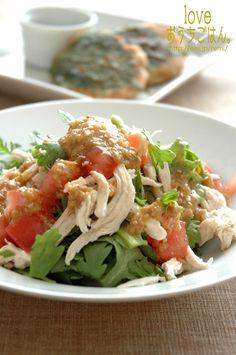 春菊と鶏肉のサラダ、味噌ゴマソース。 | 美肌レシピ