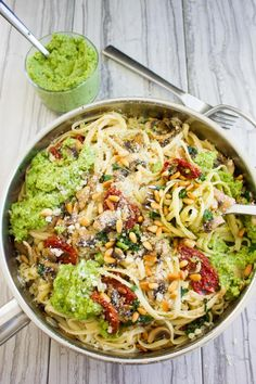 This Broccoli Pesto Healthy Pasta Recipe is seriously too good to be true! Simple, fresh, easy, quick and packed with flavor! This is a real crowd pleaser!