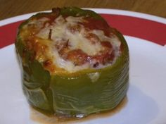 Stuffed Bell Peppers (crock-pot) *cook time should be 4-5 hours on low, at 6-8 they will implode - yummy, just not pretty.... I used this recipe but cooked them in the oven... Its a keeper!