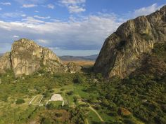"""Legends of the """"Hall of Records""""     The ancient site of Chalcatzingo from the air - perched between the two hills of Cerro Chalcatzing..."""