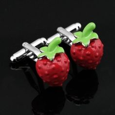 Your mood must be good when wearing this cute strawberry cufflinks