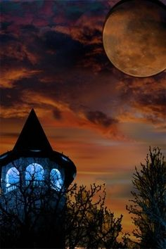 I just love this pic - the tower/witch hat against the hallowed sky on a full moon night.  It reminds me of the Harvest Moon I spent with my love...