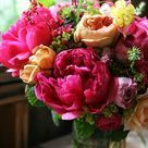 Bouquet de pivoines fuchsia et orange