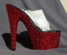 Red Mix, Full Crystal Pleaser Adore 702, size 7. $290.00, via Etsy.