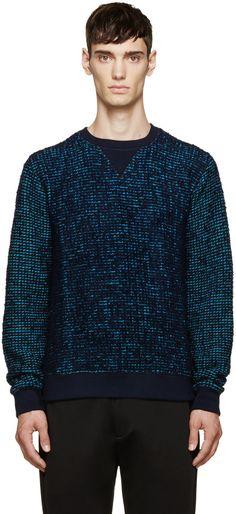 Kenzo Blue Contrast Marled Sweater