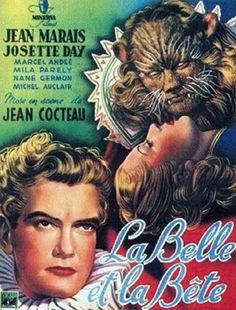 La Belle et la Bête film was made in 1946 and was most likely the first adaption of Jeanne-Marie Leprince de Beaumont's fairy tale. Jean Cocteau directed this French romantic fantasy film. The movie starred Kean Marais and Josette Day. French Movies, Old Movies, Vintage Movies, Great Movies, Vintage Posters, Films Cinema, Cinema Posters, Movie Posters, Illustration Française