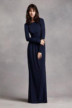 Long Sleeve Jersey Dress with V Back VW360202